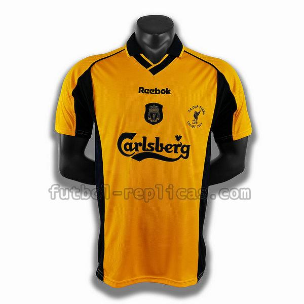 segunda player camiseta liverpool 2001 amarillo hombre