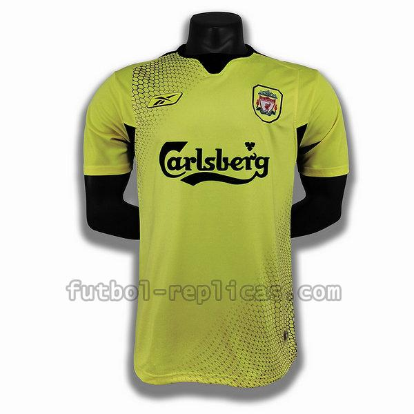 segunda player camiseta liverpool 2004 2005 amarillo hombre